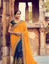 image of Wedding Function Wear Georgette Designer Navy Blue And Mustard Saree With Fancy Blouse