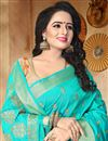 photo of Alluring Cyan Traditional Fancy Saree In Art Silk