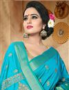 photo of Beautiful Fancy Sky Blue Traditional Saree In Art Silk