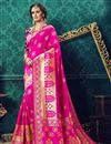 image of Traditional Cotton And Silk Designer Fancy Party Wear Pink Color Saree