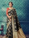 image of Designer Function Wear Black Color Cotton And Silk Fabric Traditional Saree