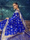 photo of Designer Blue Color Cotton And Silk Fabric Party Wear Traditional Saree