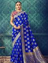 image of Party Wear Blue Color Traditional Cotton And Silk Designer Saree