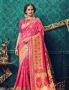 image of Traditional Cotton And Silk Designer Party Wear Pink Color Saree