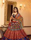 image of Disha Patani Fancy Digitial Print Red Color Banglori Embellished Lehenga