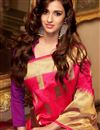 photo of Disha Patani Traditional Cotton And Silk Pink Color Party Wear Saree