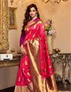 image of Disha Patani Traditional Cotton And Silk Pink Color Party Wear Saree