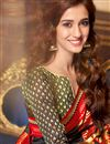 photo of Disha Patani Party Wear Designer Red And Black Color Cotton And Silk Fancy Saree