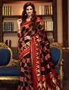 image of Disha Patani Party Wear Designer Red And Black Color Cotton And Silk Fancy Saree