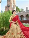 photo of Designer Fancy Red And Beige Color Georgette Fabric Wedding Wear Embroidered Saree With Lace Border