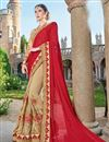 image of Designer Fancy Red And Beige Color Georgette Fabric Wedding Wear Embroidered Saree With Lace Border