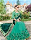 photo of Wedding Function Wear Green Color Georgette Fabric Fancy Designer Embellished Saree With Lace Border