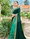 image of Wedding Function Wear Green Color Georgette Fabric Fancy Designer Embellished Saree With Lace Border