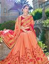 photo of Designer Party Wear Fancy Orange Color Georgette Fabric Embroidered Saree With Lace Border