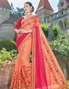 image of Designer Party Wear Fancy Orange Color Georgette Fabric Embroidered Saree With Lace Border