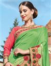 photo of Designer Party Wear Fancy Green Color Georgette Fabric Embroidered Saree With Lace Border