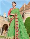 image of Designer Party Wear Fancy Green Color Georgette Fabric Embroidered Saree With Lace Border