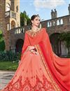 photo of Sangeet Wear Designer Fancy Red And Peach Color Georgette Fabric Embroidered Saree With Lace Border