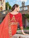 picture of Sangeet Wear Designer Fancy Red And Peach Color Georgette Fabric Embroidered Saree With Lace Border