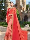 image of Wedding Wear Fancy Red And Peach Color Georgette Fabric Designer Embellished Saree With Lace Border