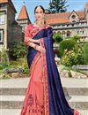image of Designer Wedding Wear Fancy Pink And Blue Color Embroidered Georgette Fabric Saree With Lace Border