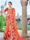 image of Designer Wedding Wear Fancy Orange Color Embroidered Georgette Fabric Saree With Lace Border