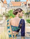 picture of Designer Fancy Cyan And Beige Color Georgette Fabric Wedding Wear Embroidered Saree With Lace Border