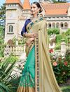 image of Designer Fancy Cyan And Beige Color Georgette Fabric Wedding Wear Embroidered Saree With Lace Border
