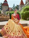 photo of Wedding Function Wear Beige And Orange Color Georgette Fabric Fancy Designer Embellished Saree With Lace Border