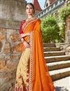 image of Designer Party Wear Fancy Beige And Orange Color Georgette Fabric Embroidered Saree With Lace Border