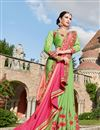 picture of Wedding Wear Green Color Georgette Fabric Designer Embellished Saree With Lace Border