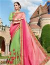 image of Wedding Wear Green Color Georgette Fabric Designer Embellished Saree With Lace Border