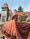 photo of Sangeet Wear Designer Fancy Brown And Orange Color Georgette Fabric Embroidered Saree With Lace Border