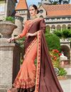 image of Sangeet Wear Designer Fancy Brown And Orange Color Georgette Fabric Embroidered Saree With Lace Border