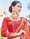 photo of Designer Wedding Wear Fancy Orange And Pink Color Embroidered Georgette Fabric Saree With Lace Border