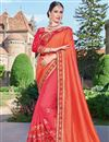 image of Designer Wedding Wear Fancy Orange And Pink Color Embroidered Georgette Fabric Saree With Lace Border