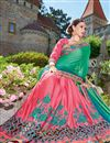 photo of Designer Wedding Wear Fancy Teal And Pink Color Embroidered Georgette Fabric Saree With Lace Border