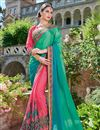 image of Designer Wedding Wear Fancy Teal And Pink Color Embroidered Georgette Fabric Saree With Lace Border