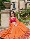 photo of Wedding Function Wear Orange Color Georgette Fabric Fancy Designer Embellished Saree With Lace Border