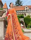 image of Designer Fancy Orange Color Georgette Fabric Wedding Wear Embroidered Saree With Lace Border