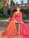 photo of Wedding Function Wear Pink And Orange Color Georgette Fabric Fancy Designer Embellished Saree With Lace Border