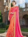 image of Designer Party Wear Fancy Pink And Orange Color Georgette Fabric Embroidered Saree With Lace Border