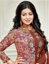 photo of Ayesha Takia Party Wear Brown Color Cotton Fabric Straight Cut Embroidered Dress
