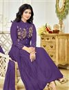 photo of Ayesha Takia Party Wear Fancy Purple Color Cotton Fabric Embroidered Salwar Kameez