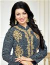 photo of Ayesha Takia Grey Color Cotton Fabric Floor Length Fancy Embroidered Anarkali Suit
