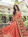 photo of Peach Wedding Wear Fancy Fabric Saree With Embellished Blouse