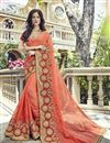 image of Peach Wedding Wear Fancy Fabric Saree With Embellished Blouse