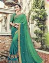 image of Teal Wedding Wear Saree In Fancy Fabric With Embellished Blouse
