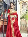 photo of Function Wear Art Silk Red Saree With Fancy Blouse
