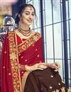 photo of Brown Georgette Function Wear Saree With Embellished Blouse